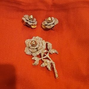 Jewelry - Clip earrings and brooch.